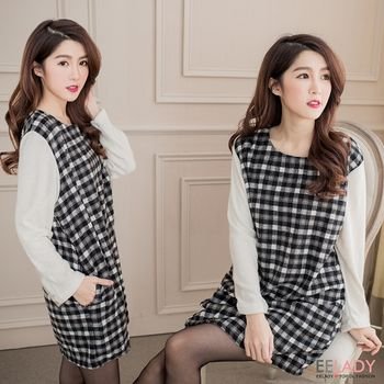 【EE-LADY中大碼】韓系假二件圓領格紋氣質洋裝-黑色-