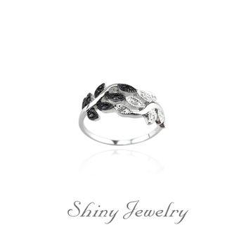 【炫麗珠寶】黑白桂冠 925純銀戒指