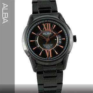 【SEIKO精工 ALBA 亞柏系列】黑金氣質不鏽鋼男錶(AS9233X1)