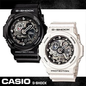 【CASIO 卡西歐 G-SHOCK 系列】機械戰警粗獷風雙顯運動錶(GA-300)