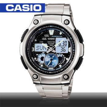 【CASIO 卡西歐】日系-賽車款多功能雙顯錶(AQ-190WD)