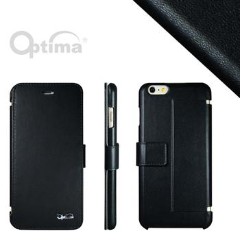 Optima iPhone 6 Plus側掀站立型皮套 真皮系列-黑色