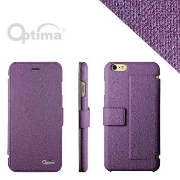 Optima iPhone 6 Plus 側掀站立型皮套 義大利皮革亞麻系列-紫色