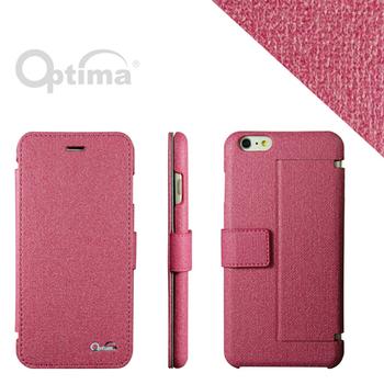 Optima iPhone 6 Plus側掀站立型皮套 義大利皮革亞麻系列-莓紅色