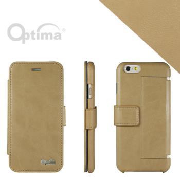 Optima iPhone 6 側掀站立型皮套 義大利皮革纖柔系列-卡其