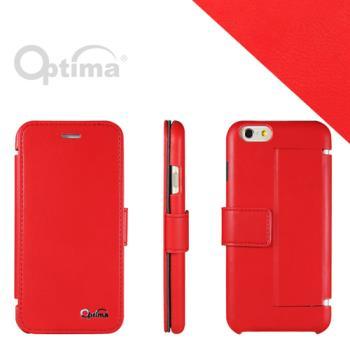 Optima iPhone 6 側掀站立型皮套 義大利皮革纖柔系列-紅