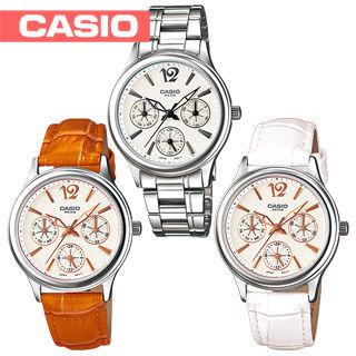 【CASIO 卡西歐】日系三眼復古風時尚淑女錶(LTP-2085L-LTP-2085D)