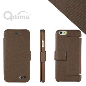 Optima iPhone 6 側掀站立型皮套 義大利皮革丹寧系列-咖啡