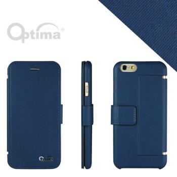 Optima iPhone 6 側掀站立型皮套 義大利皮革丹寧系列-藍