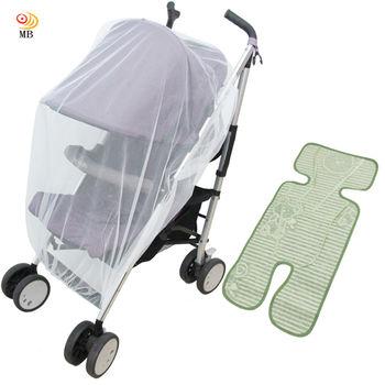 月陽通用型全罩式兒童推車防蚊罩蚊帳亞麻草蓆涼蓆涼墊超值組(PZ18)