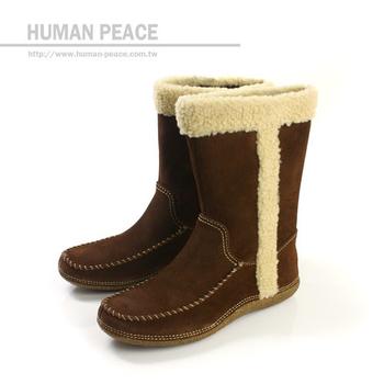 Hush Puppies 天然皮革 橡膠大底 舒適 飽暖 拉鍊 好穿脫 靴子 戶外休閒鞋 咖啡 女款 no793