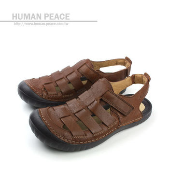 Clarks 皮革 透氣 清涼 舒適 抗震 好穿脫 涼鞋 戶外休閒鞋 咖啡 男款 no595