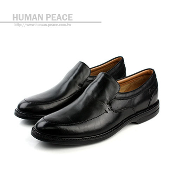 Clarks 真皮皮革 舒適 氣墊 抗震 上班族 皮鞋 戶外休閒鞋 黑 男款 no587