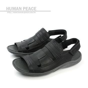 Clarks 皮革 透氣 清涼 舒適 抗震 好穿脫 涼鞋 戶外休閒鞋 黑 男款 no598