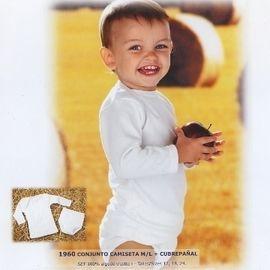 【西班牙 Abanderado】(1960)嬰兒連身衣中棉長袖二件式(尺寸12)