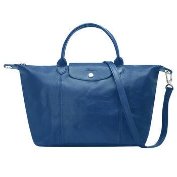 LONGCHAMP LE PLIAGE CUIR 混羊皮短把手提/斜背包(中-藍色)1515737-127