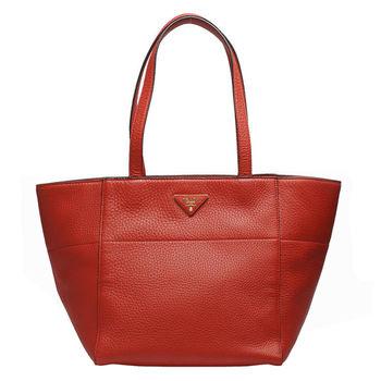 PRADA VIT.DAINO系列浮雕LOGO牛皮手提/肩背購物包(紅色)BR5090-ROSSO