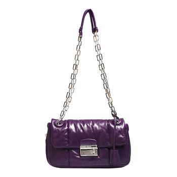 PRADA NAPPA BOMBER小羊皮圓形壓釦鍊帶肩揹/斜背晚宴包(紫)B5023L-VIOLA
