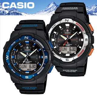 【CASIO 卡西歐 SPORTS 系列】多功能登山雙顯運動錶(SGW-500H)