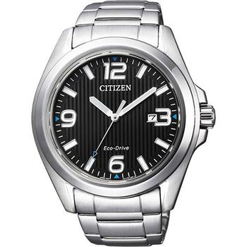 CITIZEN Eco-Drive 光動能紳士品味時尚腕錶-黑x銀/43mm AW1430-51E