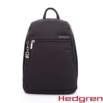 【HEDGREN】HIC -Inner City 都會系列-後拉鍊式後背包-黑色