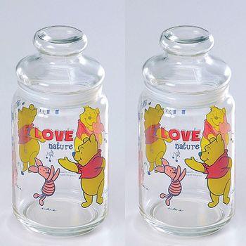 Disney小熊維尼玻璃儲物罐750cc-二入組