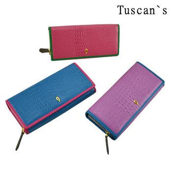 【Tuscan`s】牛皮鱷魚壓紋繽紛女用長夾-