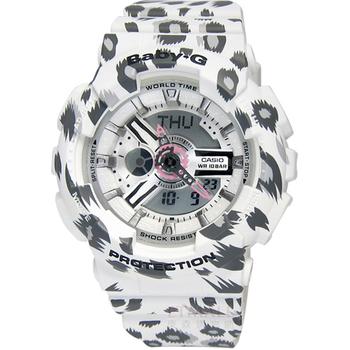 BABY-G 冷冽狂野 魅力立體層次雙顯豹紋腕錶 白色 43mm / BA-110LP-7A
