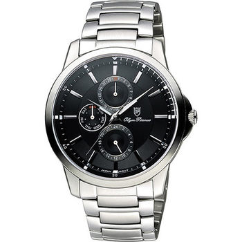 Olympianus 奧柏 尊爵時尚日曆腕錶-黑x銀/42mm 890-08MS黑面
