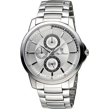 Olympianus 奧柏 尊爵時尚日曆腕錶-銀/42mm 890-08MS