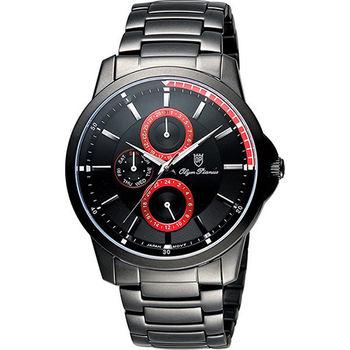 Olympianus 奧柏 尊爵時尚日曆腕錶-黑x紅/42mm 890-08MB紅
