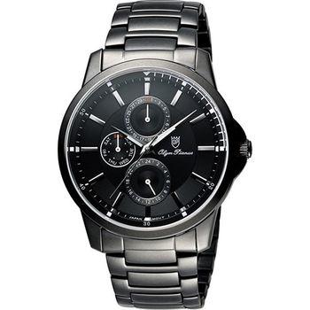 Olympianus 奧柏 尊爵時尚日曆腕錶-黑/42mm 890-08MB
