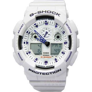 G-SHOCK 重機裝置‧3D錶盤抗磁雙顯腕錶_白〈GA-100A-7A〉