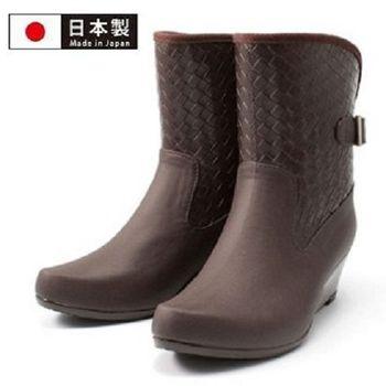 【Charming】日本製【扣環高跟雨鞋】-深咖啡色-820