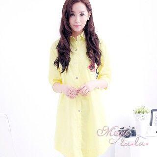 【魔法拉拉】卡卡可愛圖章長版襯衫A336(繽紛黃)
