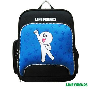 【LINE FRIENDS】EVA護脊雙層書背包(加油!饅頭人_藍)