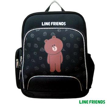 【LINE FRIENDS】EVA護脊雙層書背包(無辜熊大_黑)
