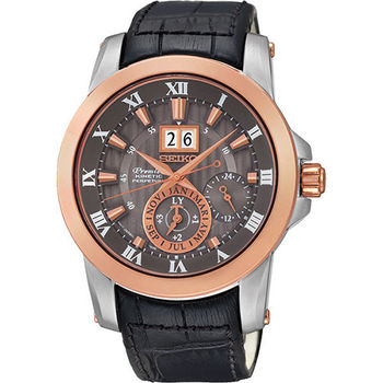 SEIKO Premier 羅馬人動電能萬年曆腕錶-灰x玫瑰金/42mm 7D56-0AB0G(SNP114J2)