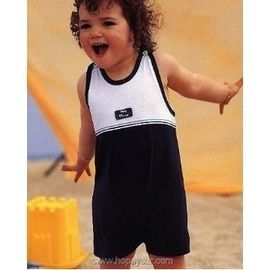 【西班牙 Abanderado】(0953)嬰兒連身衣(肩扣背心藍白)(尺寸12/18)