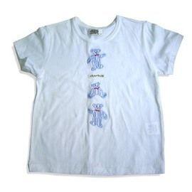 【FINE】日本制《Crown Banby》 100 %棉羅紋 貼繡藍小熊男女童T-shirt (82082)