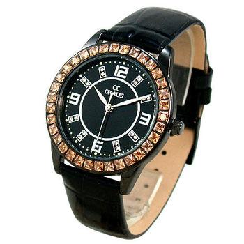 【酢漿草】魅力鑽框*輕熟時尚真皮革錶/黑