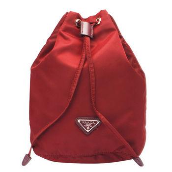 PRADA VELA系列經典三角LOGO尼龍萬用束口袋/化妝包(紅色)1N0369-FUOCO