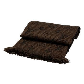 LV M72241 Monogram LOGO MANIA 羊毛針織圍巾(栗子色)