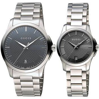 GUCCI G-Timeless 古馳菱格紋時尚對錶 YA126441+YA126522