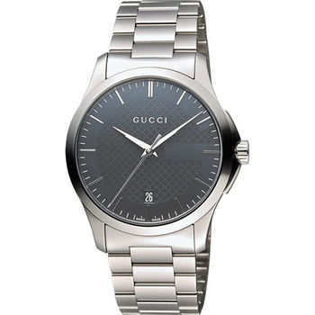GUCCI G-Timeless 古馳菱格紋時尚腕錶-灰/38mm YA126441