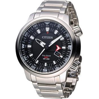 CITIZEN 星辰 光動能雙時區潮流腕錶 BJ7081-51E 黑
