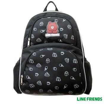 【LINE FRIENDS】MIT減壓護脊書背包 (黑_無辜熊大)