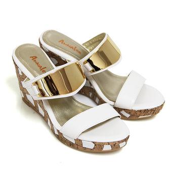 【ANNAlee】ANNAlee 都會時代金屬鏡面全真皮楔型拖鞋-白色