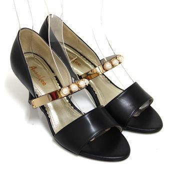【ANNAlee】ANNAlee 典雅內斂珍珠金屬鏡面全真皮低跟涼鞋-黑色