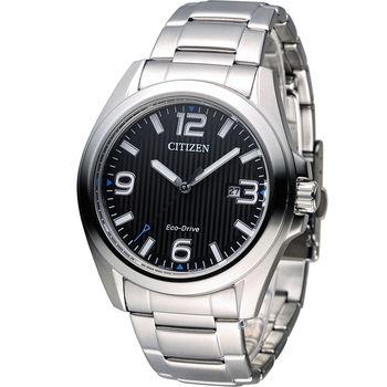 CITIZEN 星辰 光動能紳士時尚腕錶 AW1430-51E 黑